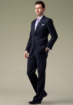 Handmade Mens Navy Suit With Narrow Purple Stripe by UPUNIQUE
