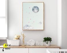 Cute moon and pink stars nursery ideas from Sunny and Pretty. Moon and stars nursery decor print for a perfect celestial nursery. Nursery art and nursery prints to complete your nursery decor project. Our nursery wall art is made with love and is designed to reflect your nursery wall decor style. 🖤 Get excited about decorating for your little one! #sunnyandpretty Clouds Nursery, Moon Nursery, Nursery Wall Decor, Nursery Themes, Nursery Art, Girl Nursery, Nursery Prints, Nursery Ideas, Star Themed Nursery