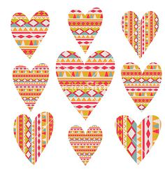 Tribal hearts set aztec vintage folklore vector by Markovka on VectorStock®