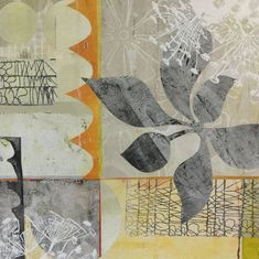 Monoprinting on a gel plate; collage on cradled wood panel. Plate Collage, Bowen Island, Gelli Plate Printing, Jennifer Love, Painted Paper, Wood Paneling, Prints, Painting, Art