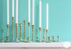 Paint Dipped Brass Candlesticks