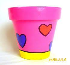 Ofelia - Macetas by Manjula Painted Plant Pots, Painted Flower Pots, Painted Jars, Pots D'argile, Clay Pots, Flower Pot Crafts, Clay Pot Crafts, Handmade Crafts, Diy And Crafts