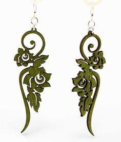 Long Flower Ornament - Laser Cut Wood Earrings. $12.95, via Etsy.  http://www.etsy.com/listing/64496092/long-flower-ornament-laser-cut-wood