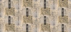 Cartophily (LW1448/1) - Linwood Wallpapers - A decorative all over wallpaper design featuring vintage maps and tableware. Shown here in various shades of brown, grey and black. Please request a sample for a true colour match. Pattern repeat is 94cm. Paste-the-wall product.