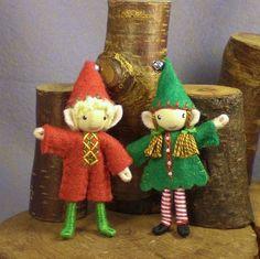 Bendy dolls - Christmas elves by PrincessNimbleThimble, via Flickr