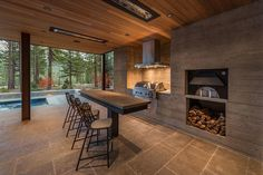 Step inside a jaw-dropping mountain modern retreat in Martis Camp Parrilla Exterior, Outdoor Spaces, Outdoor Living, Casa Patio, Mountain Modern, Dining Nook, Custom Homes, Beautiful Homes, Architecture Design