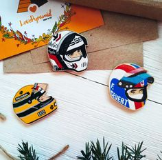 Wooden brooch Formula One F1 Formula1 racing driver Elio de Angelis Ayrton Senna Francois Cevert (François Cevert) Italy Italia