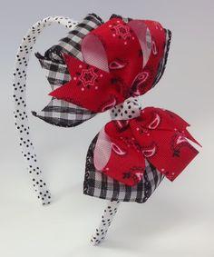Red & White Gingham Bandanna Bow Headband