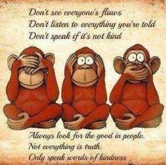 Three Wise Monkeys Image By Ruth Brusuelas On Positive Words Wise Monkeys Words