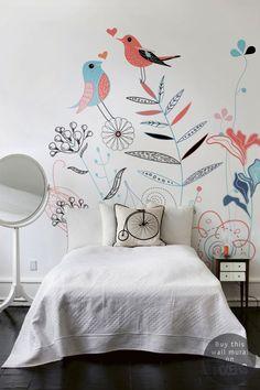 deco chambre fille papier peint fleurs et oiseaux - Le blog déco de MLC