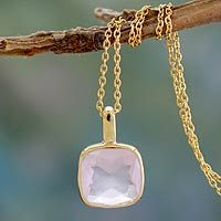Modern Charm from @NOVICA, They help #artisans succeed worldwide.  hand made gold vermeil faceted rose quartz necklace $90