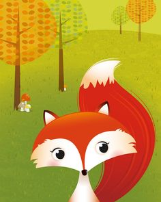 Woodland print. Contemporary childrens illustration of a squirrel and fox in a woodland setting. Nursery print Many thanks for taking a look :)