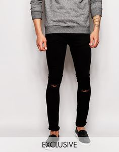 Exclusive to ASOS Waven Jeans Erling Spray On Super Skinny Fit Black Overdye Rip Repair
