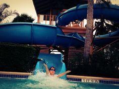 Aren on the slide at Hilton Orlando