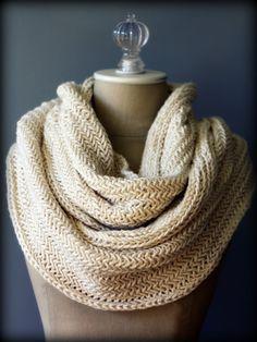 Herringbone Knitted Infinity Scarf