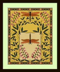 Another Art Nouveau adaptation from the turn of the century. This one features Dragonflies, and Sweet Peas. ... Frame it up ... Pull out the Dragonfly motif and stitch as an embellishment ... Make a lovely pillow ... Use the charted pattern for needlepoint, square beading, etc...  You will need Adobe Reader to open your pdf files. This will include both color and b/w symbol pages, and a single page view of the finished design. (You will receive dmc color charts for both color options.) F...