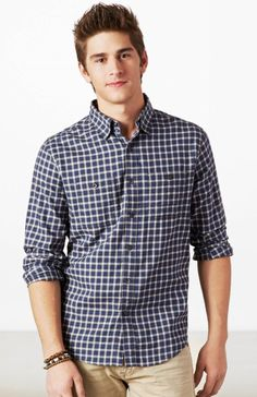 AE Plaid Button Down Shirt (Summer Casual)