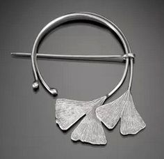 "Fibula/Shaw pin | Nisa Smiley.  ""Ginko"".  Sterling silver"