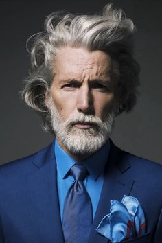 Aiden Shaw: Gentleman style This would look good for any aged man. Beard Styles For Men, Hair And Beard Styles, Long Hair Styles, Bart Styles, Aiden Shaw, Style Masculin, Grey Beards, Sharp Dressed Man, Men's Grooming