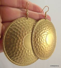 $34 + shipping // Large Medallion Brass Earrings Vintage Brass by JSWMetalWorks