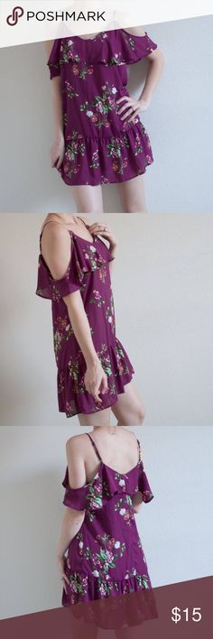 Purple floral off the shoulder dress Size M. Doesn't stretch. Shift dress style. Off the shoulder. Almost Famous Dresses Mini