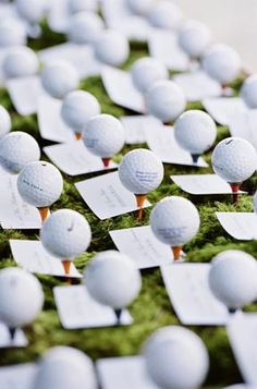 A fun idea for a summer wedding between 2 golfers! *grin*  Golf Ball place cards
