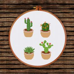 4 lovely cactus designs for cactus lovers and botanical theme room decor. Find more modern cactus cross stitch pattern in our website to complete your collection.  PATTERN SPECIFICATIONS: Stiches: full cross stitch Colors: DMC stranded cotton Required Colors: 14 Stitch size: 76 x 107  SUGGESTION: Fabric: 14 count Aida Strands: 2 Designed area: 5.43 x 7.64 inches or 13.8 x 19.4 cm  This PDF pattern contains: - Cover - Floss Palette - Color Symbol Chart - Black and White Symbol Chart…