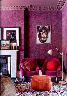 Eclectic Interior Inspiration - Home Adore. Hot pink Magenta and purple vibrant floral wallpaper. I LOVE THIS ROOM! if i had all the money in the world, this would be in one of my homes Color Inspiration, Interior Inspiration, Interior Ideas, Room Interior, Design Hotel, House Design, Interior And Exterior, Interior Design, Deco Boheme