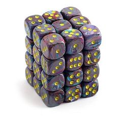 6 Sided Dice, Easy Shape, Gold Glitter, Mosaic, Dots, Shapes, Yellow, Comprehension, Gaming