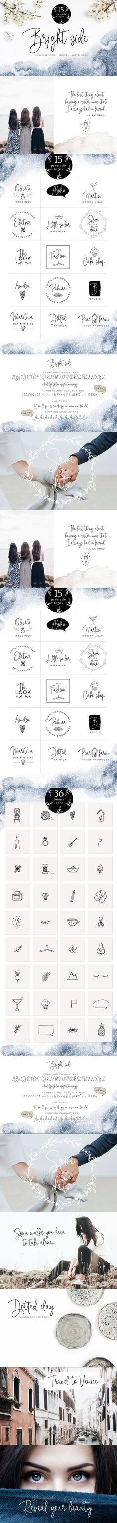 Bright Side script font & logos #typeface #food #vectorlogo #branding #editablelogos #typography #spring #german #country #handdrawnlogos #whimsicallogo #greetingcard #tea #ttf #sketch #template #opentype #fontbundle #casual Wedding Fonts, Wedding Invitations, Script Fonts, How To Draw Hands, Food Template, Font Alphabet, Open Type, Bright, Tea