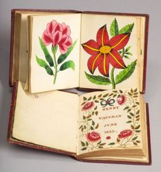 American School, 19th Century    Two Small Books with Flower Illustrations.