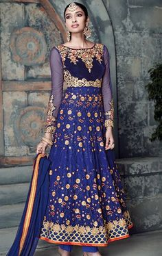 Incredible Blue Latest Anarkali Suit