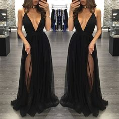 Black deep V-neck tulle long prom dresses,evening dress,formal dress from Formal…