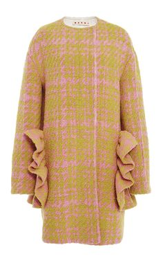 Plaid Wool Ruffle Coat by MARNI for Preorder on Moda Operandi