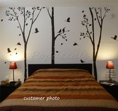 Custom PopDecals   On Sale   Three Big Birch Trees   Beautiful Tree Wall  Decals For