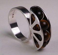 Elis Kauppi for Kupittaan Kulta, Vintage modernist ring in sterling silver and tiger's eye stones, 1960's. #Finland