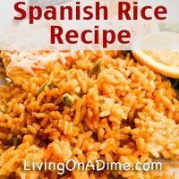This Easy Spanish Rice Recipe makes a nice side dish to go with enchiladas and other Mexican food favorites. Serve with Refried Beans for a complete meal for under $5!   Click here for this yummy #recipe! http://www.livingonadime.com/easy-spanish-rice-recipe/