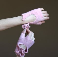 Glamour rose felted fingerless gloves
