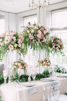 A Lush, Soft-Hued Styled Shoot Inspired by an Airy, Enchanted Garden - WedLuxe Magazine Wedding Flower Arrangements, Floral Centerpieces, Wedding Centerpieces, Wedding Table, Floral Arrangements, Wedding Bouquets, Wedding Decorations, Centrepieces, Tall Centerpiece