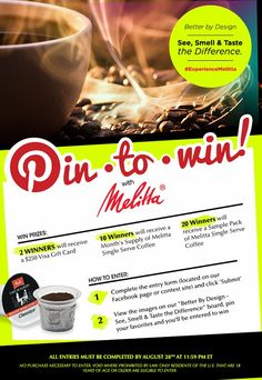 We welcome Melitta USA to the Cora family! Here's a great way to start the relationship - a chance to WIN! Enter to WIN the Melitta Pinterest #Sweepstakes! #ExperienceMelitta