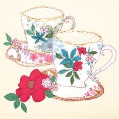 I absolutely adore the work of Claire Coles, who I recently discovered via one of her greeting cards. And today's post starts off with three of her beautiful floral-inspired cards. Clip Art Vintage, Decoupage, Textiles Techniques, Teapots And Cups, Gif Animé, Textile Artists, Cute Illustration, Alice In Wonderland, Tea Party