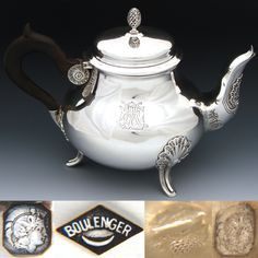Elegant Antique French Sterling Silver Coffee or Tea Pot, Seashells, Aesthetic Style