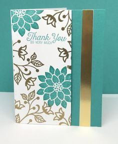 handmade thank you card by BJ Peters ... like metallic gold with Bermuda Bay and white ... gold heat embossing and foil ... Stampin' Up!