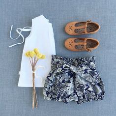 Image of Luxe Navy floral Linen/Cotton shorties