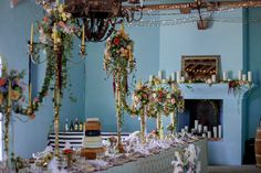 Fairy tale Marie Antoinette inspired wedding feast Table with floral candelabras and garlands by My pretty vintage