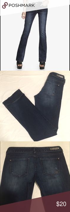 🎉Express Stella Lowrise Bootcut Jeans These Express Stella jeans are super cute!💖 They are in excellent condition. There is a slight wear spot on the back pocket. Size is a 6 Long. They are 98% cotton and 2% spandex so they do have some stretch for comfort. The waist straight across is 16 inches. Hips straight across is 18 inches. Thighs measure 9 inches. Express Jeans Boot Cut