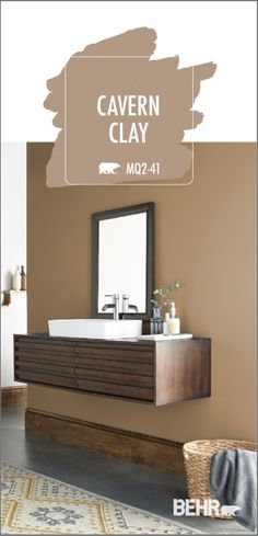 Give your DIY bathroom makeover an elegant twist with a new coat of Behr Paint in Cavern Clay. This neutral shade of tan pairs well with the dark wood vanity, industrial concrete floors, and cozy area Tan Paint Colors, Bathroom Paint Colors, Kitchen Paint Colors, Interior Paint Colors, Paint Colors For Home, Wall Colors, House Colors, Warm Kitchen Colors, Behr Pintura