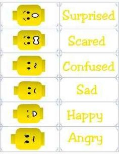 Free Printable Flashcards - Emotion Flash Cards - Lego Emotional Regulation - what boy does not love legos? Teaching Emotions, Social Emotional Learning, Feelings And Emotions, Social Skills, Feelings Chart, Emotions Cards, Lego Therapy, Therapy Activities, Learning Activities