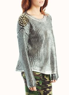 metallic spiked shoulder patch sweater