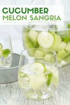 This Cucumber Melon Sangria recipe is a white wine sangria filled with juicy honeydew melon, crisp cucumber slices and fresh mint leaves and is a deliciously refreshing cocktail for summer. Double the recipe and serve this batch cocktail for your next party! #whitewinesangria #batchcocktail
